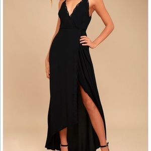 ASTR Black Wrap Maxi Dress - Small
